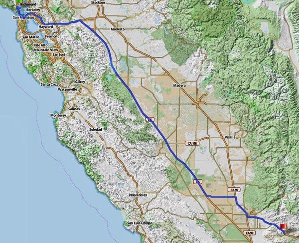 1. Etappe Tiburon, CA-Tehacapi, CA einer USA-Motorradtour vom Pazifik zum Atlantik