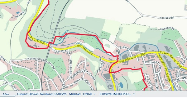 Göltzschtalbrücke bei Reichenbach im Vogtland auf einer topographischen Karte zur Planung einer Motorradtour mit Geodatenbasis