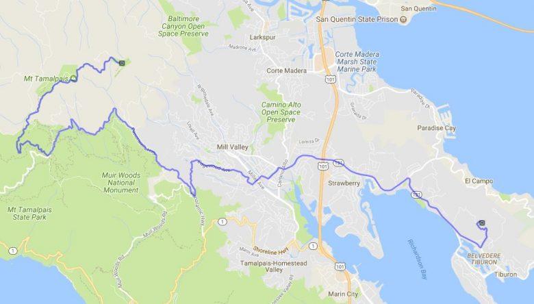 Streckenplan der Motorradtour auf den Mt. Tamalpais in Kalifornien