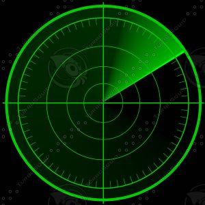 Schematische Darstellung eines Radarschirms