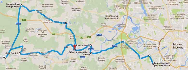 Streckenplan einer herbstlichen Motorradtour in Russland