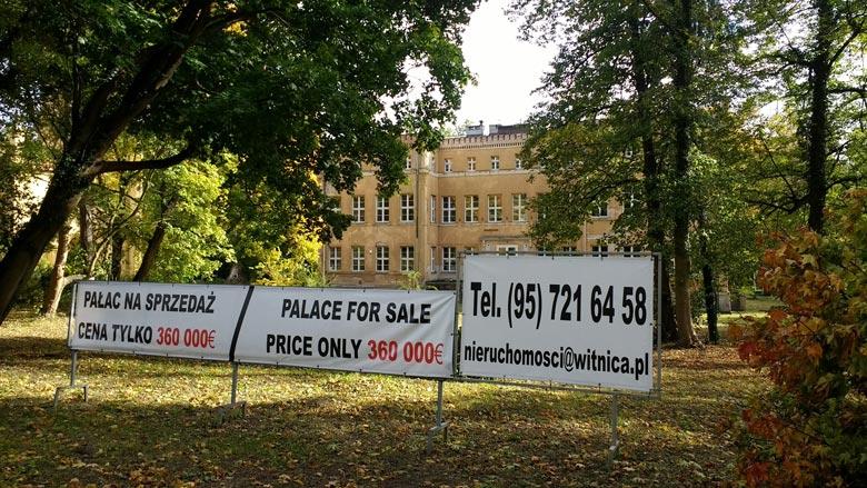 Verkaufsschilder für das Schloss Tamsel (Dąbroszyn) in der Neumark