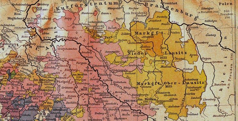 Historische Karte Markgrafschaften Ober- und Niederlausitz