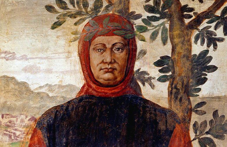 Portrait des italienischen Dichters Petrarca neben einem Olivenbaum mit Bergen im Hintergrund