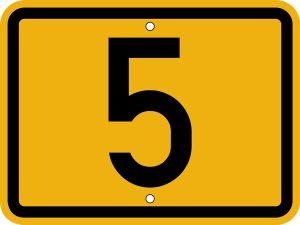 Bild vom Nummernschild für Fernverkehrsstraßen (TGL 10629, Blatt 3, S. 31, 1968), hier Bundesstraße 5, die von Frankfurt an der Oder über Berlin und Hamburg bis zur dänischen Grenze führt