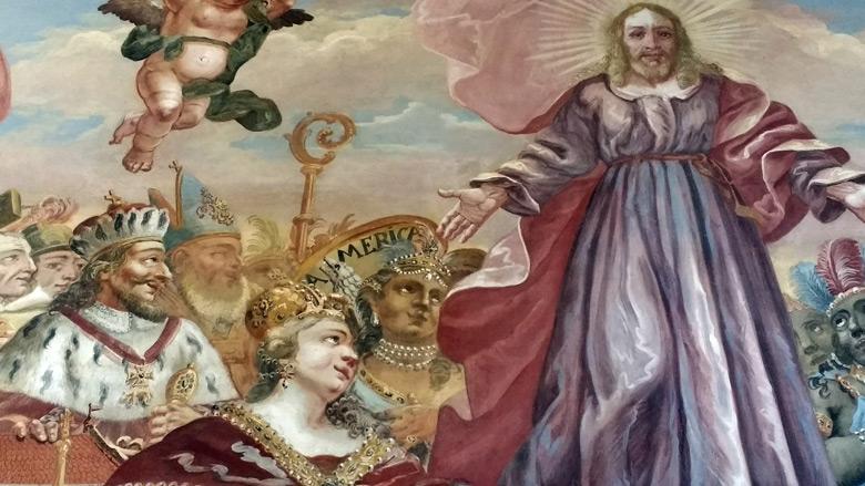 Teilansicht eines Frescos im Vorraum der Klosterkirche Neuzelle in der Niederlausitz mit Jesus, der seine Hand über eine allegorische Darstellung des Kontinents Amerika hält, gesehen bei einer Motorradtour in die Niederlausitz