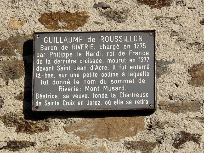 Gedenktafel für Guilleaume de Roussillon, den Anführer des 7. Kreuzzuges