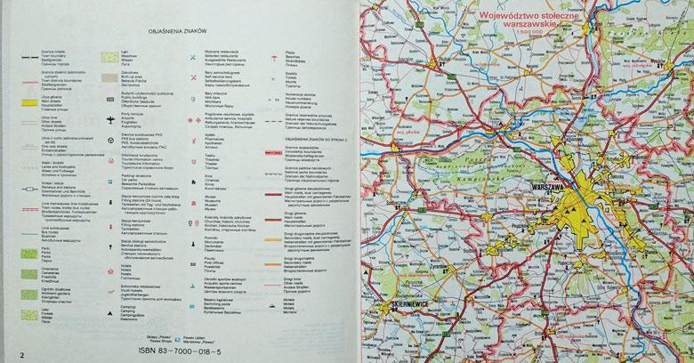 Motorradtour planen mit Landkarte der Volksrepublik Polen Wojewodschaft Warschau