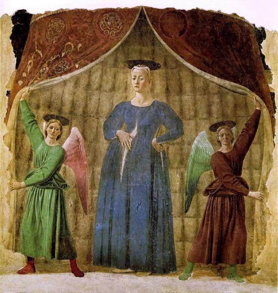 La Madonna del Parto von Piero della Francesca in Monterchi (AR), Italien, angesehen bei einer Motorradtour durch Umbrien
