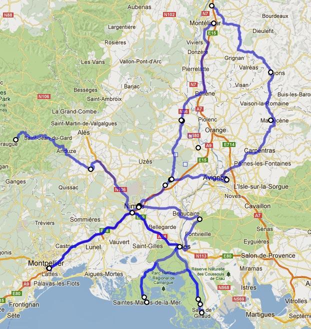 Streckenführung einer Motorradtour durch Provence und Camargue