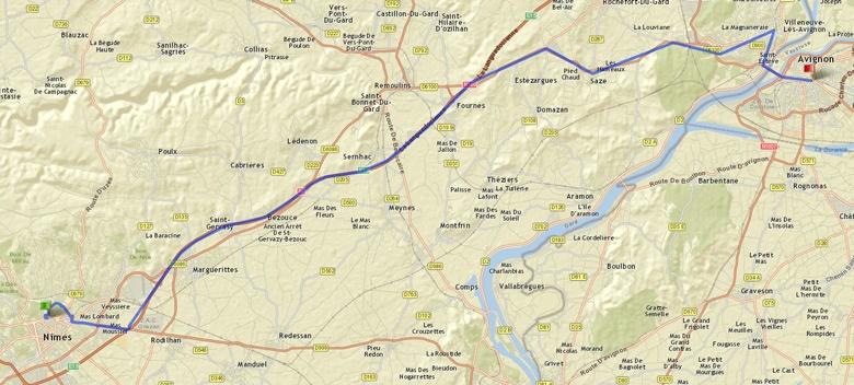 Karte der Tourenstrecke Nîmes - Avignon im Rahmen einer Motorradtour durch Provence und Camargue