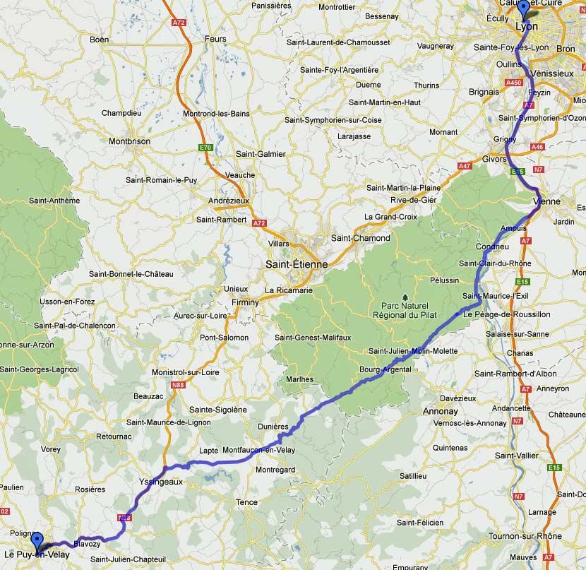 Streckenkarte einer Motorradtour Südwestfrankreich Teil 1: 1. Etappe von Lyon nach Puy-en-Velay