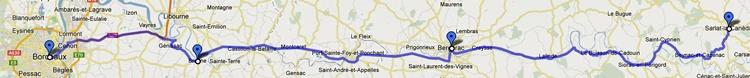 Streckenkarte einer Motorradtour Südwestfrankreich Teil 1: 5. Etappe von Sarlat-la-Caneda nach Bordeaux