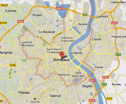 Plan der Innenstadt von Bordeaux, besucht bei einer Motorradtour Südwestfrankreich Teil 1