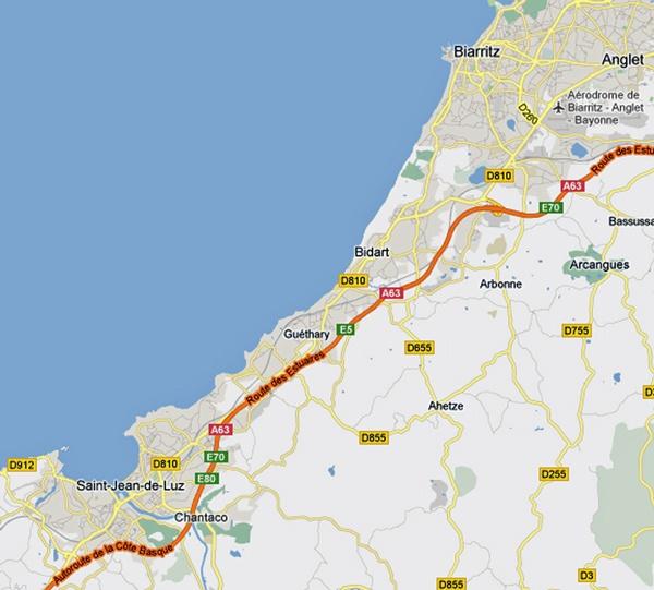 Streckenkarte der 8. Etappe einer Motorradtour Südwestfrankreich Teil 1, von Biarritz nach St-Jean-de-Luz