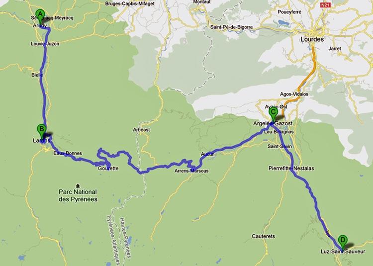 Streckenplan 11. Etappe Motorradtour Südwestfrankreich Teil 2 durch die Pyrenäen entlang der spanischen Grenze von Arudy nach Luz-St-Saveur