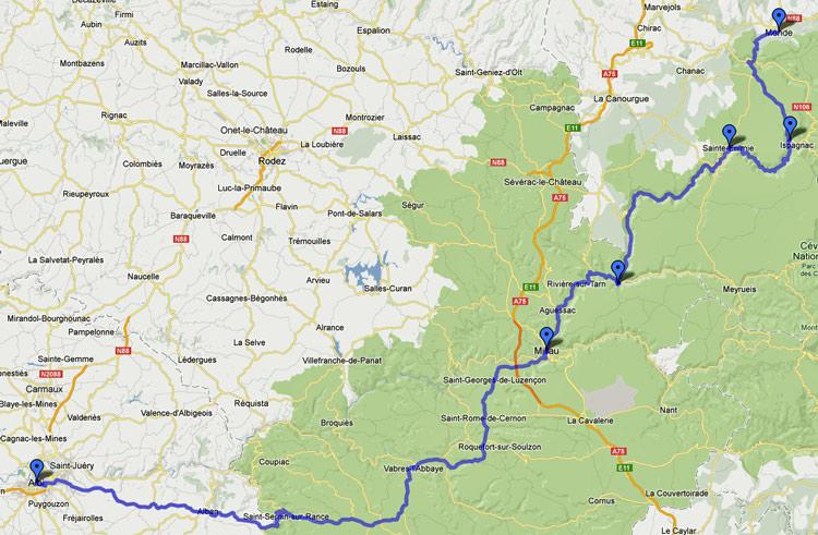 Streckenkarte der 17. Etappe Motorradtour Südwestfrankreich Teil 2 durch die Gorges du Tarn von Albi nach Mende im Département Lozère