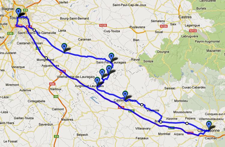 Streckenkarte der 15. Etappe Motorradtour Südwestfrankreich Teil 2 durch das Land der Katharer zwischen Toulouse und Carcassonne