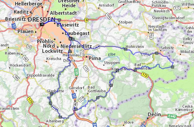 Streckenplan Motorradtour Sächsische Schweiz von Dresden an der Sächsischen Weinstrasse entlang durch das Müglitz-, Biala-, Elb-, und Kirnitzschtal