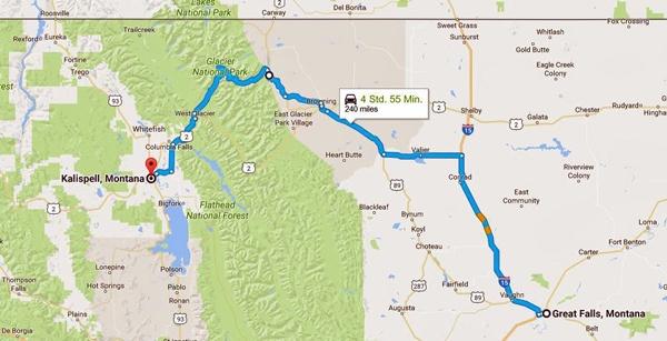 Streckenkarte der 10. Etappe einer Motorradtour durch die Rocky Mountainsvon Great Falls, MT nach Kalispell, MT