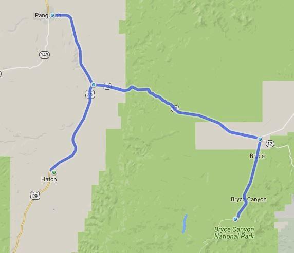 Streckenkarte von einer Motorradtour in den Bryce Canyon, Utah