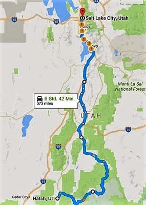 Streckenkarte der 5. Etappe Motorradtour durch die Rocky Mountains