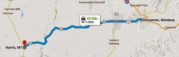 Streckenkarte der 8. Etappe einer Motorradtour durch die Rocky Mountains von Bozeman, MT nach Norris, MT
