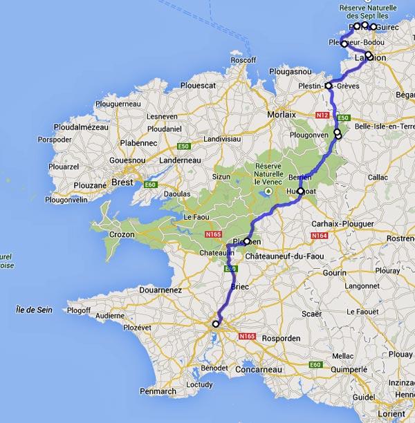 Streckenplan 9. Etappe Motorradtour durch Frankreich an den Atlantik vom Quimper nach Perros-Guirec