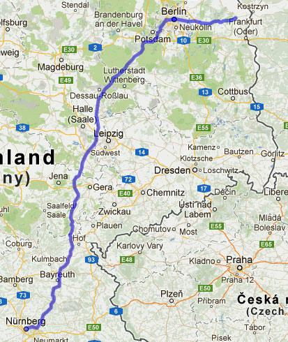 13. Etappe Seelow-Nürnberg einer Motorradtour von Moskau nach Lyon