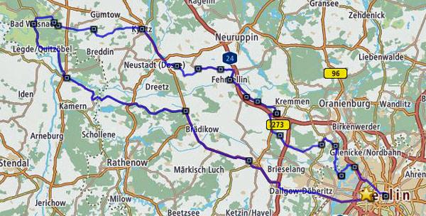Gesamtstrecke der Motorrad-Pilgertour von Berlin nach Bad Wilsnack