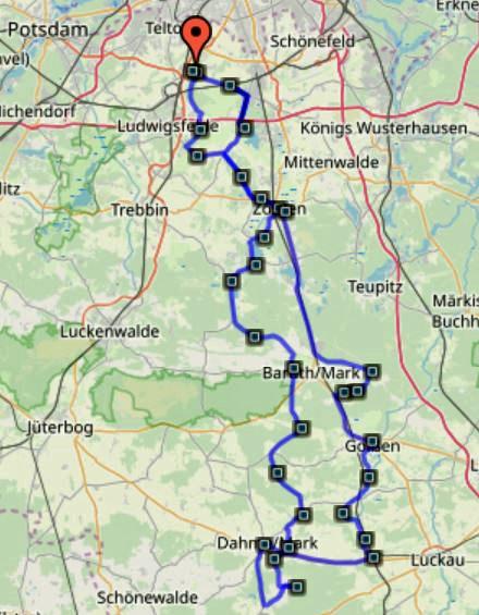 Streckenführung einer Motorradtour zur Dahmequelle