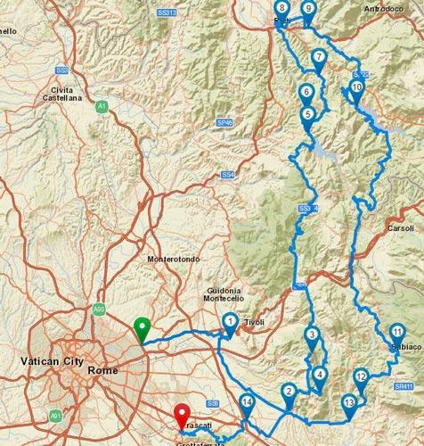 Karte von Motorrad-Traumstrassen in den Abruzzen