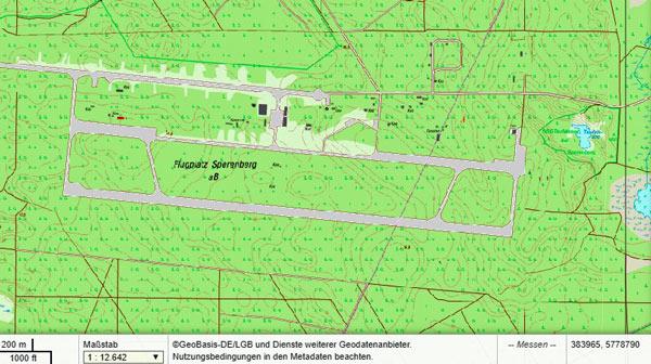 Topographische Darstellung des ehemaligen sowjetischen Militärflugplatzes Sperenberg, Lkr. Teltow-Fläming