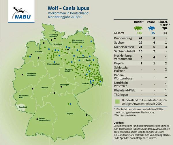 Übersichtskarte über die Verbreitung der Wölfe in Deutschland 2019
