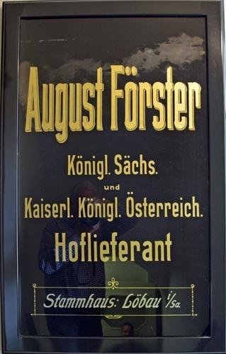 altes firmenschild der pianomanufaktur august foerster in loebau sachsen