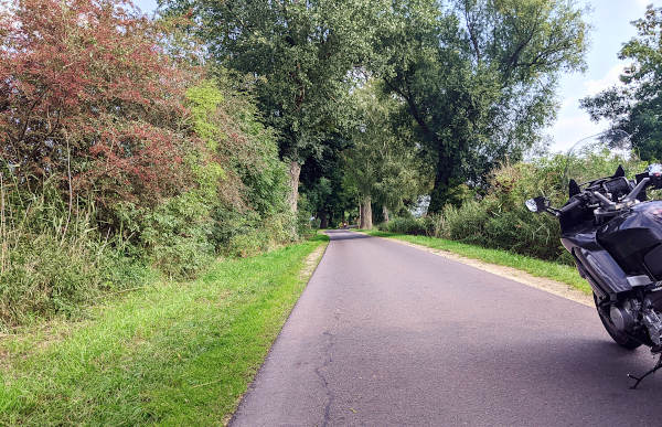 motorradsommer adieu: motorrad auf herbstlicher landstrasse